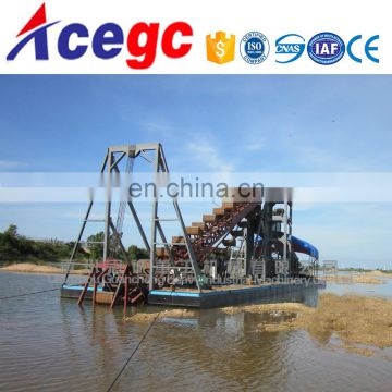 Bucket chain gripper equipment dredger sand/gold collecting dredger