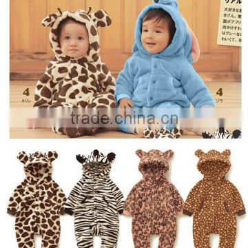 Baby Boy Girl Jumpsuit Winter Romper Coral Velvet Bear Polka Dots Clothes                                                                         Quality Choice