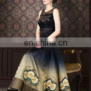 Party wear blueish black elegance floral suits for girls and woman