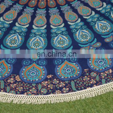 custom made mandala printed roundie beach towel home hotel 100% cotton table cover
