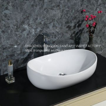 Good sale big size ceramic special white colore no hole wash hand basin sink on the table