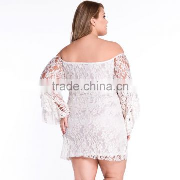 F20477A New fashion fat women lace dress patterns off shoulder trumpet sleeve elegant plus size dress women clothing for ladies                                                                                                         Supplier's Choice