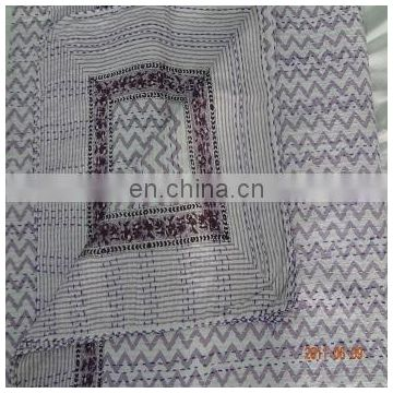 Indian block Print Kantha Quilt Throw Reversible Cotton Bedspread Vintage Throw