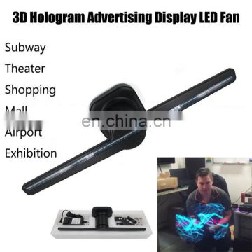 Factory app wifi holographic 3d led fan display electric rotating turntable 3d fan led hologram projector