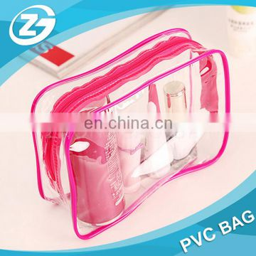 Wholesale Cheap High Quality Zip Top Girls Women Cosmetic Transparent Custom Size Logo Clear PVC Bag