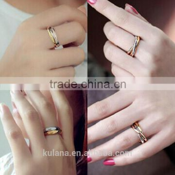 2016 Stainless Steel Ring triple ring fancy gold ring designs