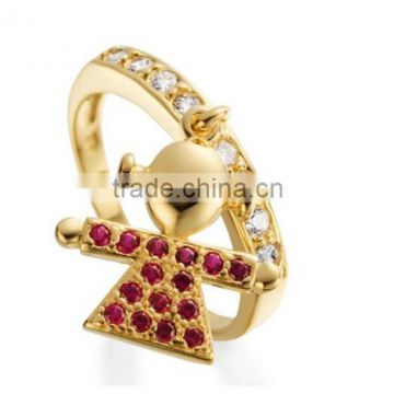 semi joias brinco anel zirconi paved boy and girl ring with charm