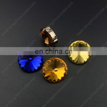 Dongzhou crystal stones Round shape Gem cut pointback jewelry rhinestones Top quality