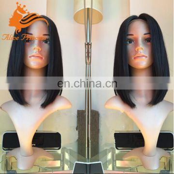 Silky Straight Middle Part Bob Lace Wigs Virgin Bohemian Human Hair Front Lace Wig With Baby Hair For Black Women