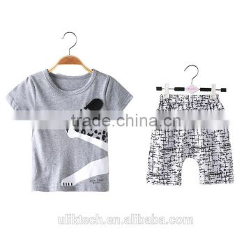2016 new fashion child boy clothes for 2 pieces summer baby clothing set wholesale casual kid clothes (ulik-VF001)                                                                                         Most Popular