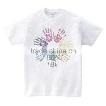 Colorful hand printing OEM service short sleeves for group activities men's tshirt