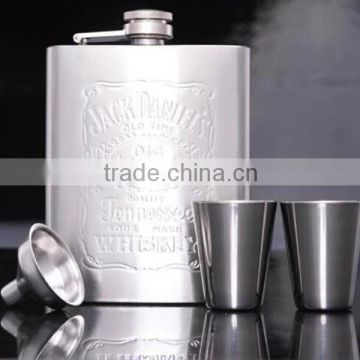 Alcohol 6oz luxury jagermeister stainless steel hip flask gift set/hip flask stainless steel