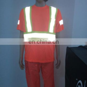 High visbility reflective breathable orange safety T-shirt