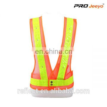 High visibility led flashing traffic safety vest