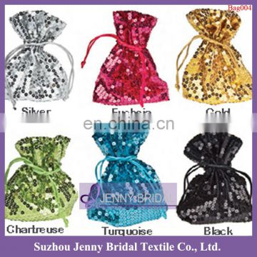 Bag002 cheap fancy christmas drawstring sequin gift bags wholesale