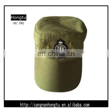 High quality green military caps with badge