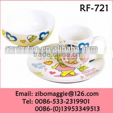 3pcs White Promotion English Style Porcelain Dinnerware Set Made In Zibo