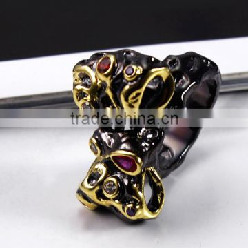 Alibaba New Design Amethyst Siam Zirconia Crystal Lady Bow Shape Black Gold Ring