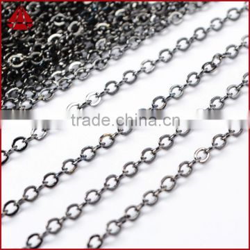 14 Inch Dark Antique Silver Plated Copper Finished Chain Necklace Finding Flat Cable Chain Losbter Clasp
