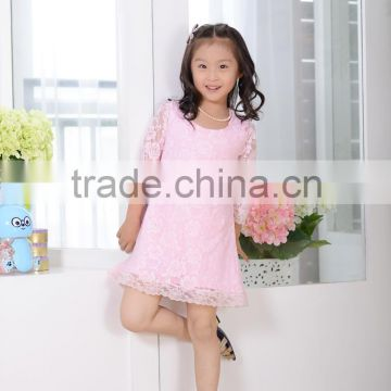 2016 soft fashion pink Lace A-line Dresses birthday party dress for little girl Baby Girls Kids Summer Dress