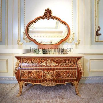 Gorgeous Luxury Design French Marquetry Bedroom Furniture Dresser Table,  Neo Classic Wooden And Brass ...