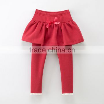 Wholesale lace trim red cotton baby girl sweet skirt legging duo