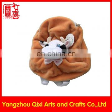 China wholesale custom kids plush backpacks bag plush cow head backpack