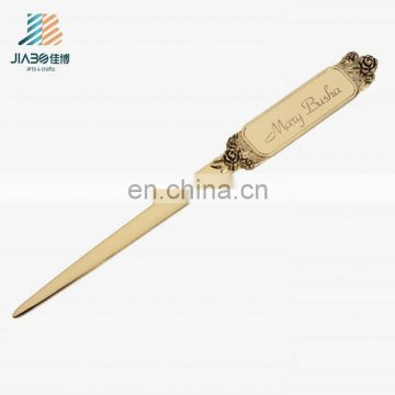alibaba china suppliers custom metal made classical old gold letter opener