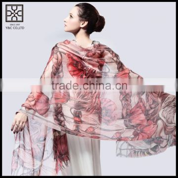 Fashion Floral Printed Silk Lady Scarf