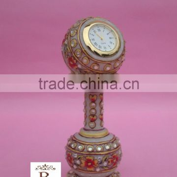 Indian Marble Pillar Watch Clock Handicraft Gift Decor Painting Handmade Jaipur Rajasthan gift Rich Art And Craft Diwali Gift