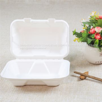 9*6*3 lunch box take away food container disposable tableware sugarcane fiber bamboo pulp
