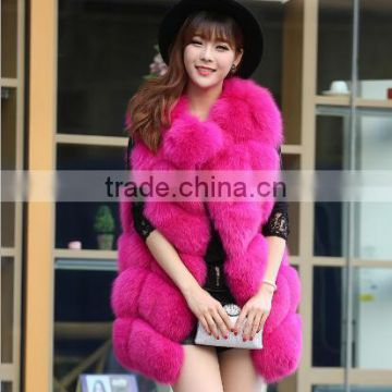 CN-R-5 100% Real Fox Fur Vests & Waistcoats Long Coat Lady