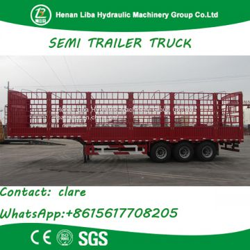 Customized Stake Semi Trailer Fence Semi Trailer 3 Axles 60 Tons Bulk Cargo Transport