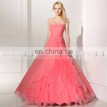Gorgeous Strapless Sleeveless Lace-Up Organza Ruffles Coral Color Ball Gown Prom Dresses SD364