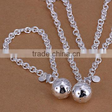 wholesale jewelry earrings and necklace fashion 2014 women 925 sterling silver jewellery set