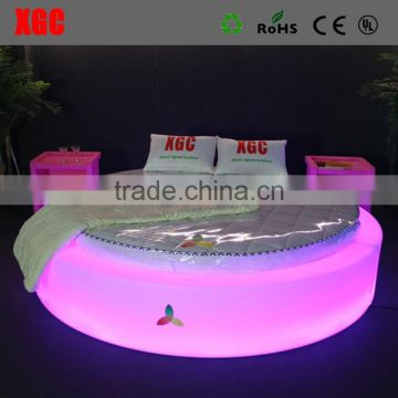 New design bed room furniture glow bed luxury Circle shape hotel bed with LED lighting