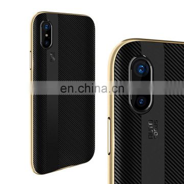 Blade Series Detachable PC Frame and Carbon Fiber TPU Back Cover Case for iPhone X - Gold