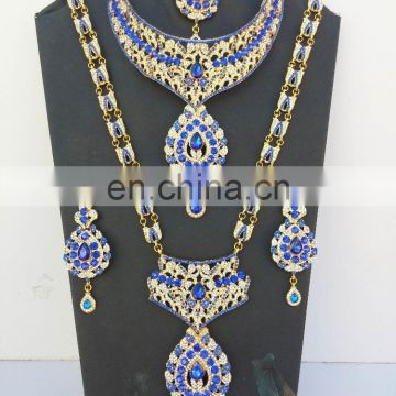 Semi Precious Indian Jewelary Gold Plated Blue Stone Zerconic Bridal Rani Haar Earring Tikka