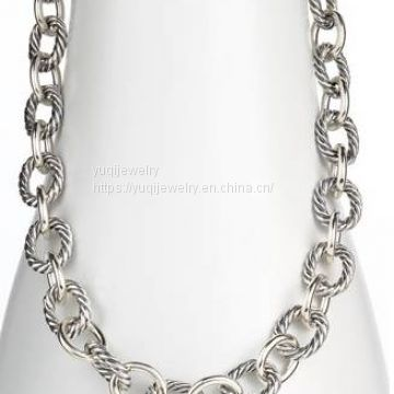 Sterling Silver Jewelry Oval Link Chain Necklace(N-040)