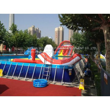 Best price large plastic moveable frame swimming pool, outdoor portable steel frame swimming pool