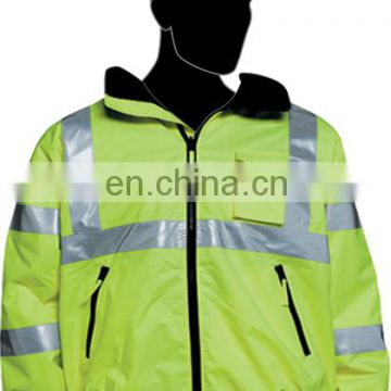 yellow reflective safety jacket with pocket
