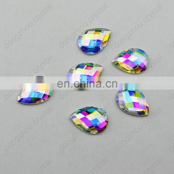 DZ-1033 drop shape flat back ab crystal stones for jewelry making