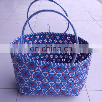 purple and white PP woven shopping bag