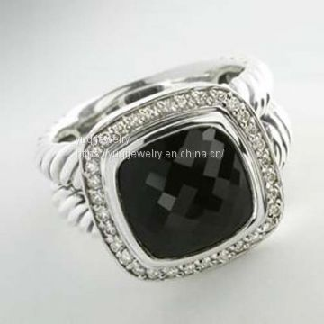 Sterling Silver Jewelry 11mm Black Onyx Albion Ring(R-065)