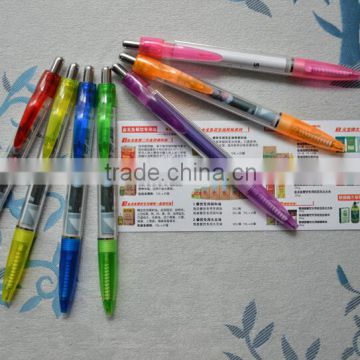 best seller transparent plastic click pen with banner