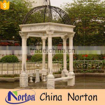 Round Iron Dome Marble Garden Italian Gazebo Design NTGM 015Y