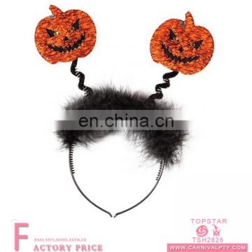 Halloween bow headband pumpkin face non-woven fabric to make headdress