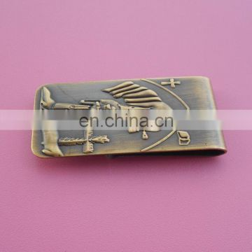 antique gold plated with your own design fashion metal money clip card holder