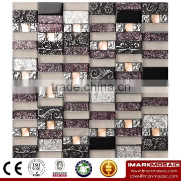 IMARK resin mix gold foil crystal mosaic tiles for kitchen/bath/wall decoration IXGR8-004 from Foshan Imark Mosaic Tiles