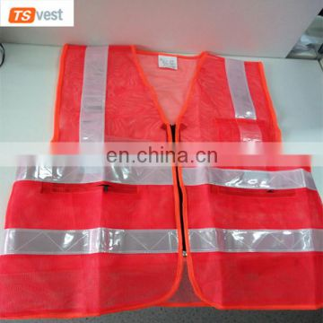 100%Polyester Fluorescent Orange Cheap Workear Mesh Vest with ID Pocket
